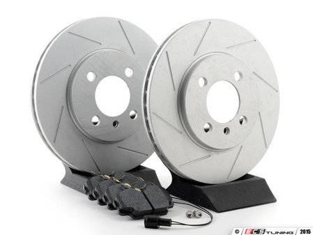 ES#3020734 - 34111160915KT12 -  Performance Front Brake Service Kit - Featuring ECS GEOMET slotted rotors and Hawk HPS pads - Assembled By ECS -