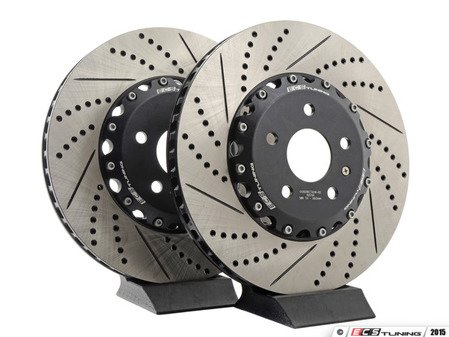 ES#3098079 - A38VBBKKT4 - Front Big Brake Kit - Stage 2 - Tornado Red calipers - 2-Piece Drilled and Slotted Rotors (340x30) - Upgrade to the stopping power of the Audi S3 - Assembled By ECS - Audi