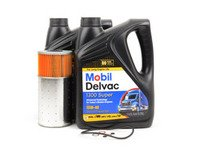 ES#2748882 - 0001802509KT2 - W123 & W126 Diesel Oil Change Kit 15w-40 - Everything you need to perform an engine oil service - Mobil Delvac - Mercedes Benz