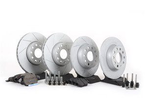 ES#2725364 - 1K0698601AHWKT - Performance Front And Rear Brake Service Kit (288x25/272x10) - Featuring ECS GEOMET slotted rotors and Hawk HPS pads - Assembled By ECS - Volkswagen