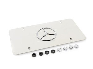 ES#1829226 - Q6880058 - License Plate Frame - Marque Plate With Star Logo (Polished Stainless Steel) - Genuine Mercedes Benz - Mercedes Benz