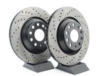 ES#2996766 - 127.33113KT1 - Rear Cross-drilled & Slotted Rotors - (310x22) - Upgrade to a slotted / cross-drilled rotor for improved braking - StopTech - Audi Volkswagen
