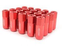 ES#3006128 - AR0915RD - 21mm Conical Seat Lug Nut - Set Of 20 - Red - 60mm Anodized Billet Aluminum lug nuts designed for aftermarket wheels with stud conversions - Arospeed - Audi Volkswagen