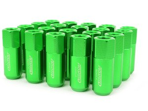 ES#3006124 - AR0915GR - 21mm Conical Seat Lug Nut - Set Of 20 - Green - 60mm Anodized Billet Aluminum lug nuts designed for aftermarket wheels with stud conversions - Arospeed - Audi Volkswagen