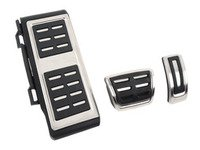 ES#3028627 - 017100BRP03A01 - Brushed Stainless Pedal Set w/ Dead Pedal - Automatic/DSG - Three piece brushed stainless pedal set to personalize your interior, includes matching dead pedal - ECS - Volkswagen