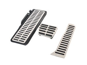 ES#3028606 - 017100BRP01A01 - Brushed Stainless Pedal Set w/ Dead Pedal - Automatic/DSG - Three piece brushed stainless steel pedal set to personalize your interior, includes matching dead pedal - ECS - Volkswagen