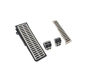 ES#3028610 - 017100BRP01A02 - Brushed Stainless Pedal Set w/ Dead Pedal - Manual - Four piece brushed stainless steel pedal set to personalize your interior, includes matching dead pedal - ECS - Volkswagen
