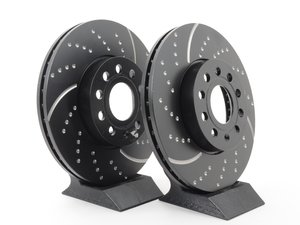 ES#521585 - GD1201 - Front Dimpled & Slotted Brake Rotors - Pair (288x25) - Reduce brake fade and add stopping performance - EBC - Audi Volkswagen