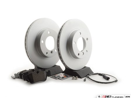ES#2763870 - 34351164371KT4 - Front Brake Service Kit - Featuring Meyle coated rotors and Brembo pads - Assembled By ECS - BMW