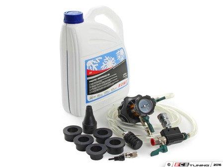 ES#3046077 - 82141467704KT1 - Coolant Flush Kit  - Includes 1 gallon of Rowe coolant, Schwaben coolant evacuation tool, and ECS Billet Aluminum Radiator Drain Plug and bleeder screw - Assembled By ECS - BMW