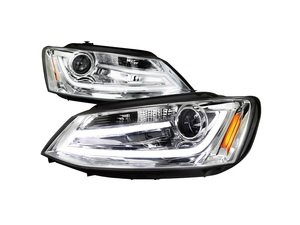 Es 3021243 2lhpjet11tm Projector Headlight Set Chrome Features Led Light S
