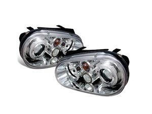 ES#3021492 - LHPGLF99TM - Projector Headlight Set - Chrome - With fog lights and angel eyes - Spec-D Tuning - Volkswagen