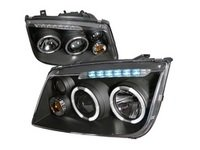 ES#3021500 - LHPJET99JMRS - Black Projector Headlights - Pair - Euro spec headlights with blacked out housing, projectors, fog lights, angel eyes, and led strips - Spec-D Tuning - Volkswagen