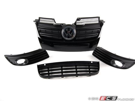 ES#1892594 - WOLFGRLKTWFOGS - 2010 Wolfsburg Edition Grille Kit - Glossy black upper & lower center grilles with matching outers - Genuine Volkswagen Audi - Volkswagen