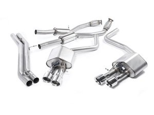 """ES#2827580 - SSXAU465 - Cat-Back Exhaust System - Resonated - Valved - 2.76"""" stainless steel with quad 100mm polished tips - Milltek Sport - Audi"""