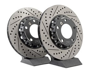 ES#2986438 - 011505ecs01KT - 2-Piece Lightweight Front Brake Rotors - Pair (300x22) - Direct bolt-on cross-drilled and slotted replacement offering a 3.6lbs weight savings per rotor! Better handling, better acceleration, and better braking! - ECS - BMW