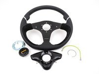 ES#3027172 - NER35BK0B - MOMO Nero Steering Wheel - Black - 350mm - Customize your driving experience with this fine leather steering wheel - MOMO - Audi BMW Volkswagen Mercedes Benz MINI Porsche