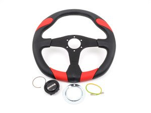 ES#3027333 - QRK35BK0R - MOMO Quark Steering Wheel - Red 350mm  - Customize your driving experience with this fine leather steering wheel - MOMO - Audi BMW Volkswagen Mercedes Benz MINI Porsche