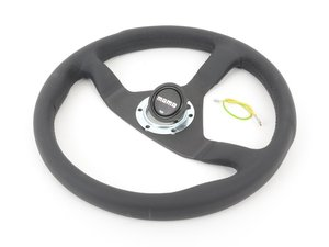 ES#3027048 - MCL35BK1B - MOMO Montecarlo Steering Wheel - Black Stitch 350mm - Customize your driving experience with this fine leather steering wheel - MOMO - Audi BMW Volkswagen Mercedes Benz MINI Porsche