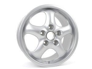 """ES#1477435 - 99336212801 - Rear Cup Design 93 Wheel - Silver Metallic - 17"""" x 9"""", 70 offset - Priced each - Genuine Porsche - Porsche"""