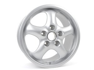 """ES#1477425 - 99336212400 - Front Cup Design 93 Wheel - Silver Metallic - 17"""" x 7"""", 55 offset - Priced each - Genuine Porsche - Porsche"""