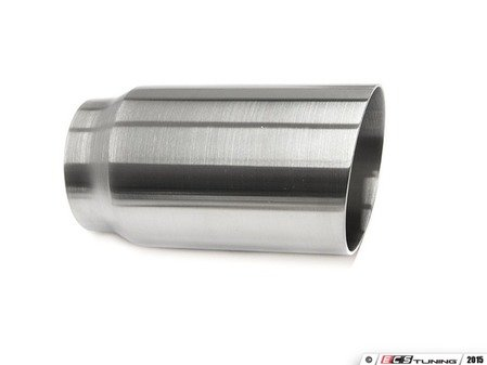 """ES#3508470 - EX-91-51WBR - 3.0"""" Weld On Exhaust Tip - Brushed  - Stainless Steel exhaust tip featuring weld on attachment. 2.5"""" Inlet / 3"""" Single Wall, Slant Cut Outlet - 42 Draft Designs - Audi BMW Volkswagen"""