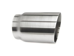"ES#3508494 - EX-91-71WBR - 3.5"" Weld On Exhaust Tip - Brushed - Stainless Steel exhaust tip featuring weld on attachment. 3"" Inlet / 3.5"" Signle Wall, Slant Cut Outlet - 42 Draft Designs - Audi BMW Volkswagen"
