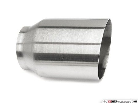 """ES#3508482 - EX-91-61WBR - 4.0"""" Weld On Exhaust Tip - Brushed - Stainless Steel exhaust tip featuring weld on attachment. 3"""" Inlet / 4"""" Single Wall, Slant Cut Outlet - 42 Draft Designs - Audi BMW Volkswagen"""