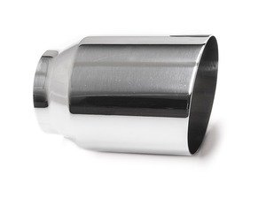 "ES#3508483 - EX-91-61WPL - 4.0"" Weld On Exhaust Tip - Polished - Stainless Steel exhaust tip featuring weld on attachment. 3"" Inlet / 4"" Single Wall, Slant Cut Outlet - 42 Draft Designs - Audi BMW Volkswagen"