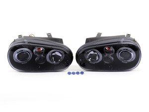 ES#3021491 - LHPGLF99JMTM - Projector Headlight Set - Black - With fog lights and angel eyes - Spec-D Tuning - Volkswagen