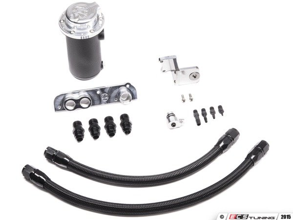 ES#3079237 - 5719568 - FSI Ultimate Oil Catch Can Solution - AN Fittings - Wrinkle black catch can with black hoses and adapters - 42 Draft Designs - Volkswagen