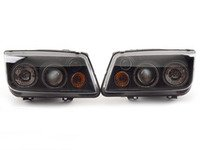 ES#3021500 - LHPJET99JMRS - Angel Eye Projector Headlight Set - Black - Euro spec headlights with blacked out housing, projectors, fog lights, angel eyes, and led strips - Spec-D Tuning - Volkswagen