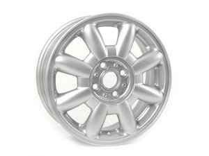 "ES#64586 - 36111512347 - R82 Alloy 8 - Spoke Wheel 15"" (4x100) Silver - Priced Each - 15 X 5.5 ET:45 - Genuine MINI - MINI"