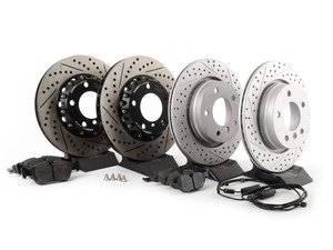 ES#3046854 - 011505ECS01KT2 - Performance Front & Rear Brake Service Kit - Featuring front ECS 2-piece cross drilled and slotted rotors, rear ECS GEOMET rotors, and Hawk HPS pads - Assembled By ECS - BMW