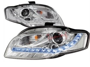 """ES#3021217 - 2LHPA4068TM - Halogen Projector Headlight Set  - Chrome housing featuring """"R8"""" style LED strips - Spec-D Tuning - Audi"""