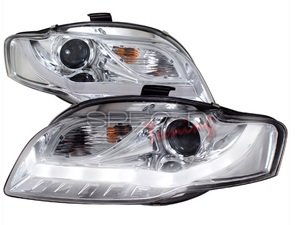 "ES#3021218 - 2LHPA4068V2TM - Halogen Projector Headlight Set  - Chrome housing featuring ""R8"" style LED bar - Spec-D Tuning - Audi"