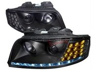 ES#3021453 - LHPA602JMAPC - Halogen Projector Headlight Set - Version 1 - Black housing featuring R8 style LED strips - Spec-D Tuning - Audi