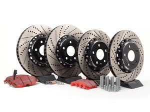 ES#3071947 - 1K061530KT5 -  Front & Rear Brake Service Kit (340x30/310x22) - Featuring ECS 2-piece cross-drilled and slotted rotors and EBC Red Stuff pads - Assembled By ECS - Volkswagen