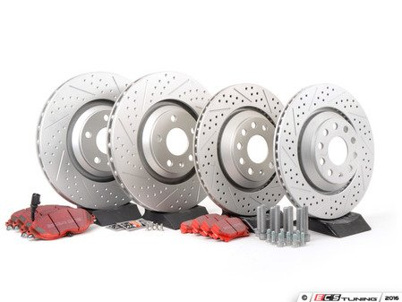 ES#2951990 - 1K061530KT - Front & Rear Brake Service Kit (340x30/310x22) - Featuring ECS GEOMET dimpled and slotted rotors and EBC RedStuff pads - Assembled By ECS - Volkswagen