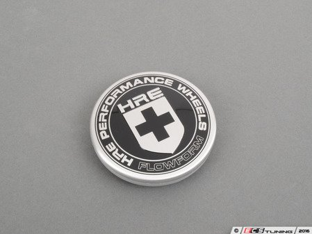 ES#3048122 - CAP-HRE-BLK-FF - HRE FlowForm Wheel Center Cap (Silver on Black)  - Replacement center cap for the FormFlow wheels - HRE - Audi BMW Volkswagen Mercedes Benz MINI Porsche