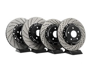 ES#3096235 - 013928ECS01-02KT - Front and Rear Cross-Drilled & Slotted 2-Piece Brake Rotor Kit (340x30/310x22) - Maximize your savings and go light! Drop 15.60lbs of rotational mass! - ECS - Audi Volkswagen
