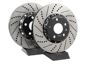 ES#3098077 - 009900ECS01KT1 - Front Cross-Drilled & Slotted 2-Piece Brake Rotors - Pair (312x25) - Direct bolt-on replacement - Save 6.70lbs of unsprung weight for enhanced performance! - ECS - Audi