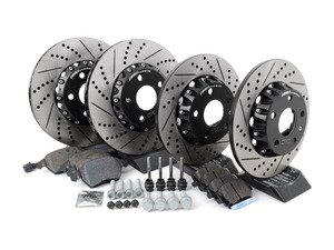 ES#3085726 - MKVPRFBRKH1KT - Performance Front & Rear Brake Service Kit (312x25/282x12) - Featuring ECS Cross-Drilled & Slotted 2-Piece Brake Rotors and Hawk HPS pads - Assembled By ECS - Volkswagen