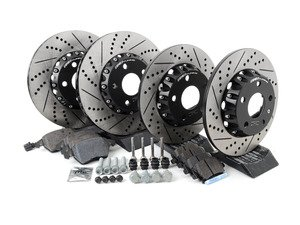 ES#3085680 - MKVPRFBRKHKT - Performance Front & Rear Brake Service Kit (312x25/282x12) - Featuring ECS Cross-Drilled & Slotted 2-Piece Brake Rotors and Hawk HPS pads - Assembled By ECS - Volkswagen