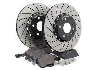 ES#3085678 - 3C0698151KKT - Performance Front Brake Service Kit (312x25) - Featuring ECS Cross-Drilled & Slotted 2-Piece Brake Rotors and Hawk HPS pads - Assembled By ECS - Volkswagen