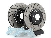 ES#3085710 - 1K0698000KT - Front Big Brake Kit - Cross Drilled And Slotted 2-Piece Rotors (312x25) - Upgrade from 288mm to 312mm 2-Piece rotors. Reuses factory calipers, pads, and hardware! - ECS - Volkswagen