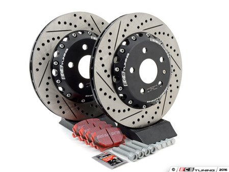 ES#3096340 - 1K061530KT7 -  Rear Brake Service Kit (310x22) - Featuring ECS 2-piece cross-drilled and slotted rotors and EBC Red Stuff pads - Assembled By ECS - Volkswagen