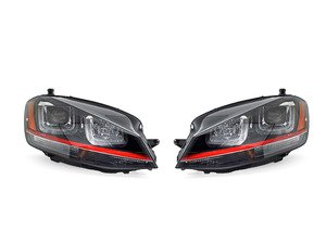 ES#3022317 - PR0YDVG15REDDRLB - Projector Headlight Set - With Red Strip - Features dual-LED DRLs and amber side markers - Spyder - Volkswagen