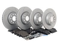 ES#2574520 - MKVSLTBRKPRFHWK - Performance Front & Rear Brake Service Kit (312x25/282x12) - Featuring ECS GEOMET slotted rotors and Hawk HPS pads. - Assembled By ECS - Volkswagen