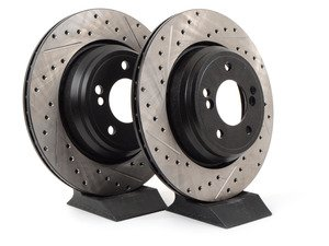 ES#3025840 - 34212229379CDS - Cross-Drilled & Slotted Brake Rotors - Rear  - This design removes performance robbing outgas and material dust caused by braking - StopTech - BMW